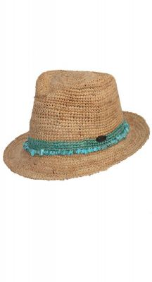 Before Dark Castaway Raffia Trilby In Turquoise